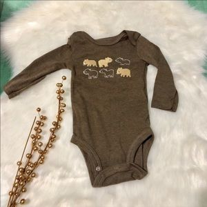 Baby Bear Long Sleeve Brown Onesie / 6mo.